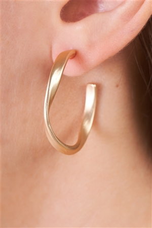 Matte Gold Twisted Circular Earrings /3 Pairs