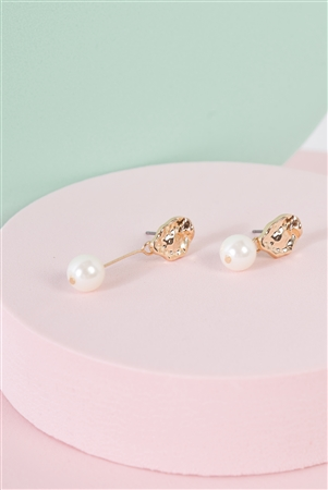 Gold & Pearl Asymmetrical Drop Earrings /3 Pairs