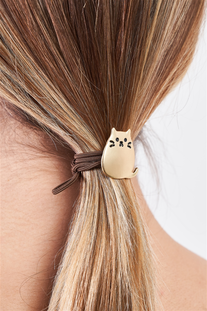 Brown Kawaii Kitten Thin Elastic Hair Tie /3 Pieces