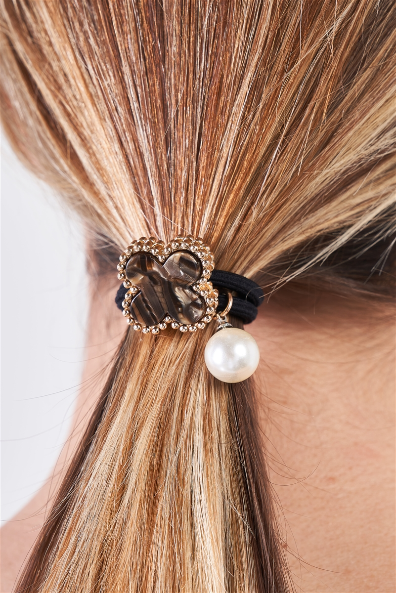 Brown Stone & Yellow Gold Edging Detail Pearl Bauble Elasticized Hair Tie /3 Pieces
