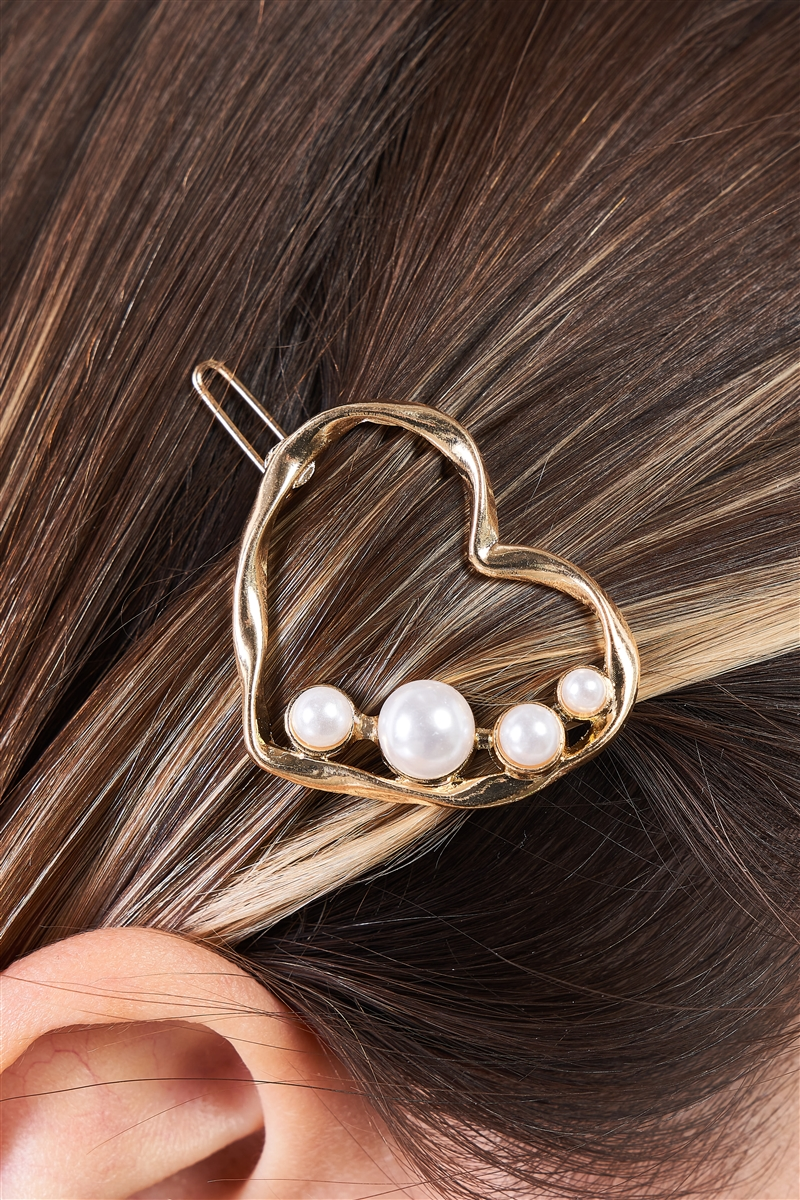 Gold & Pearl Twisted Heart Shaped Hair Clip /3 Pieces