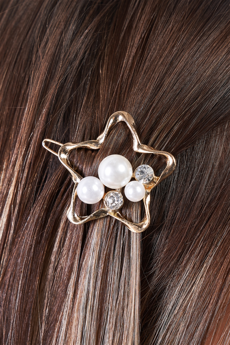 Gold Twisted Star Shaped Pearl & Faux Diamond Detail Hair Clip /3 Pieces