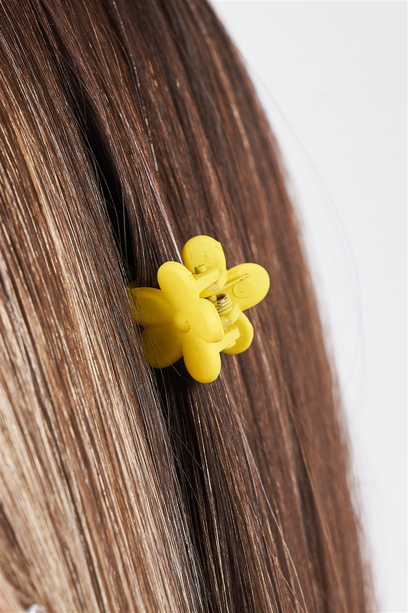 Yellow Flower Mini Claw Hair Clip / 3 Pieces