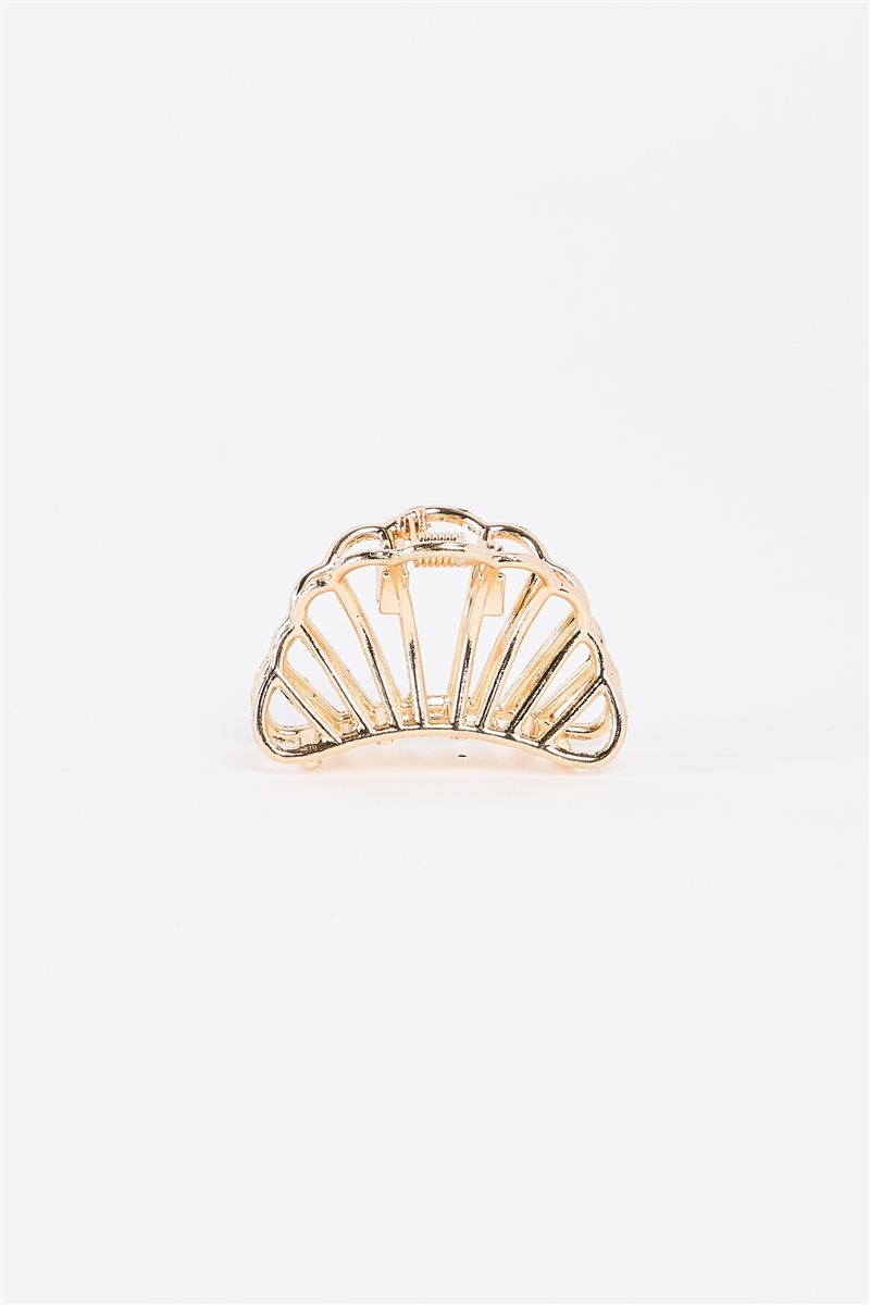 Gold Small Shell Shaped Cut-Out Hair Clip /3 Pieces