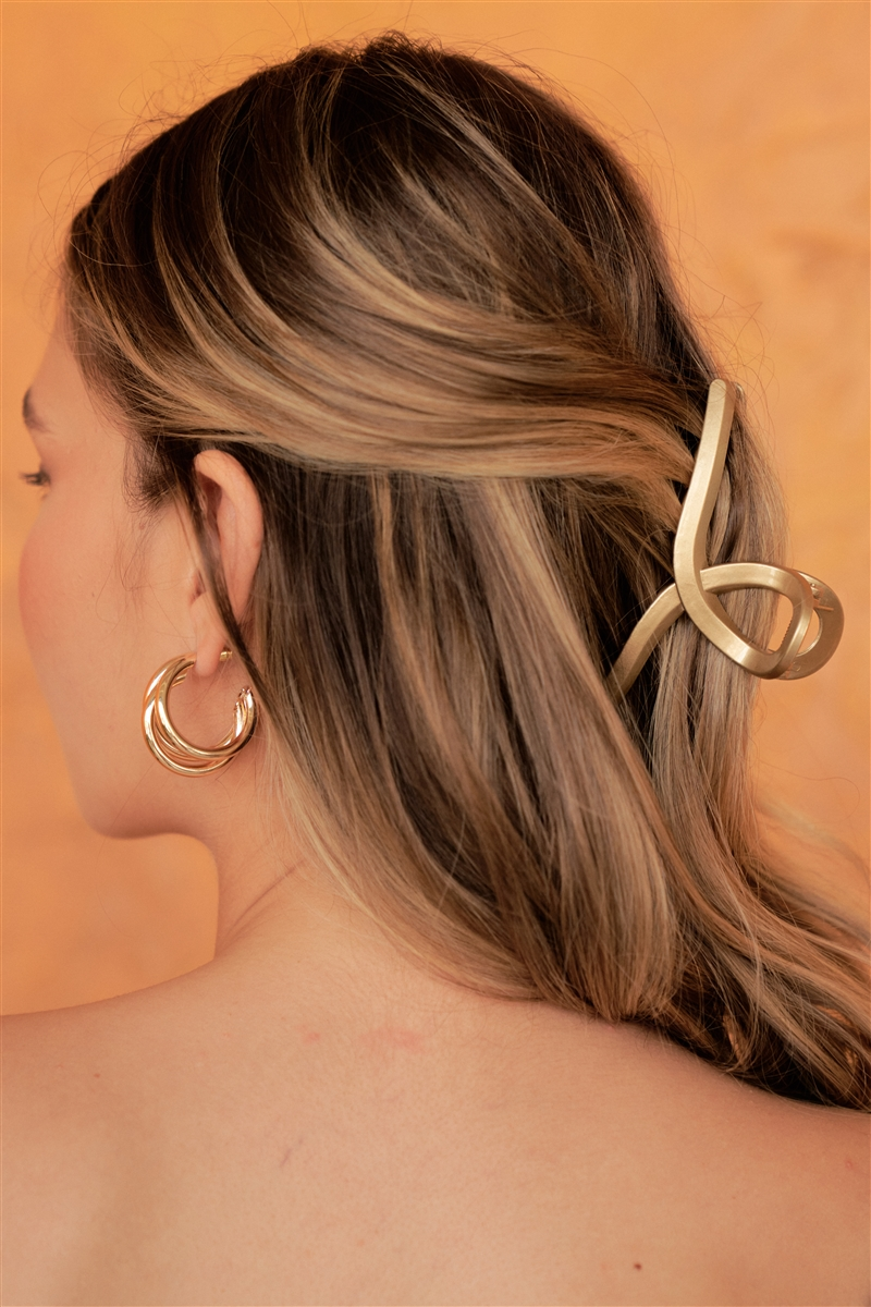 Bright Bronze Thin Open Loop Claw Hair Clip /3 Pieces