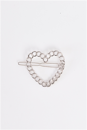 Silver Heart Shaped Chain Link Back Closure Hair Clip /3 Pieces