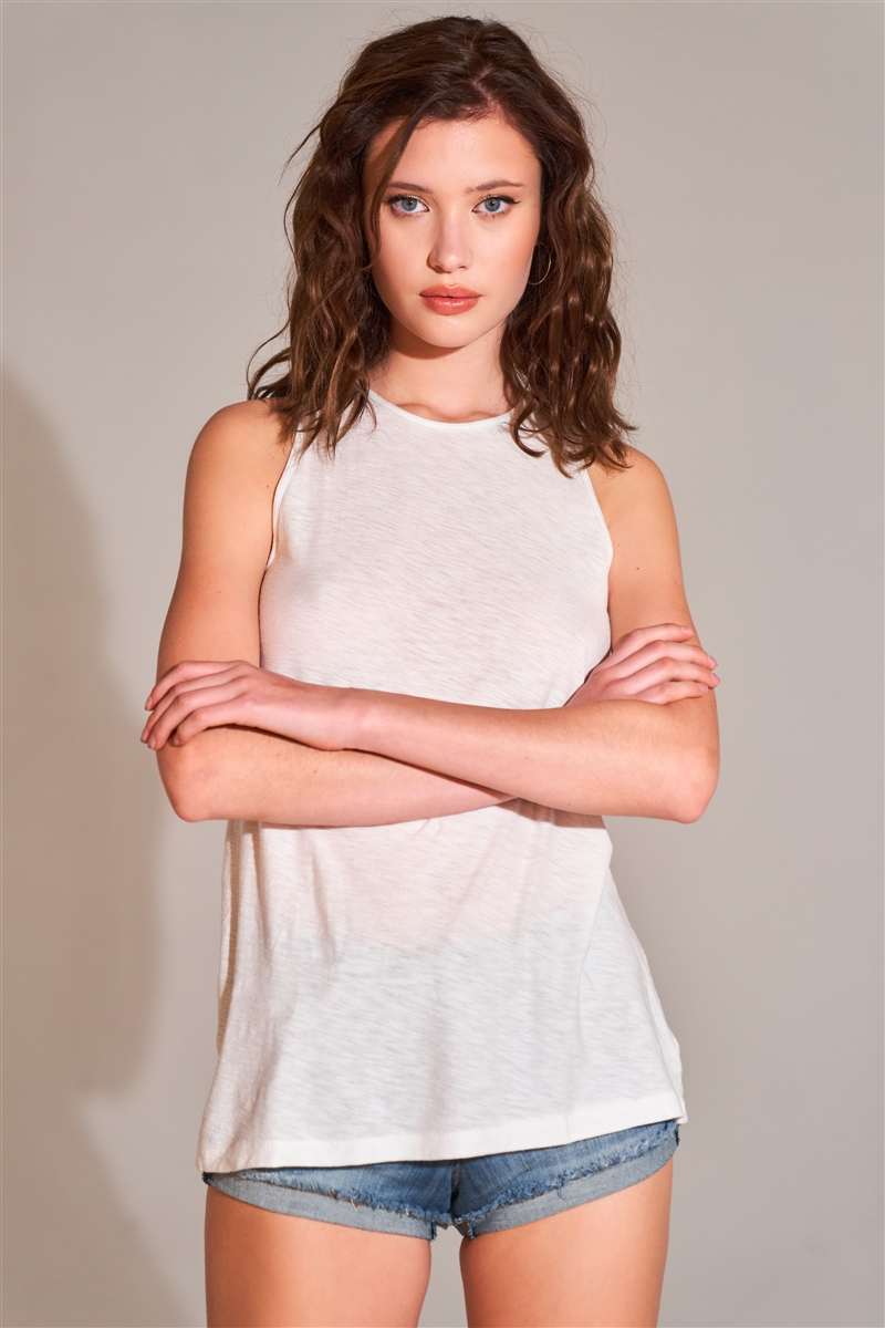 White Sleeveless Crew Neck Cut-Out Back Detail Longline Top /1-2-2-2