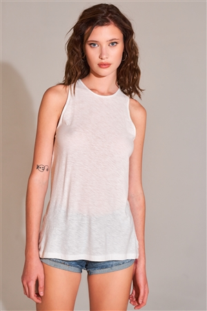 White Sleeveless Crew Neck Cut-Out Back Detail Longline Top /2-2-2-1