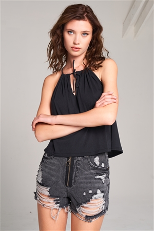 Black Sleeveless Halter Neck Self-Tie Front Drawstring Loose Fit Top /1-2-2-1
