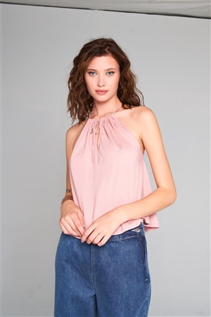 Misty Rose Sleeveless Halter Neck Self-Tie Front Drawstring Loose Fit Top /1-2-2-1