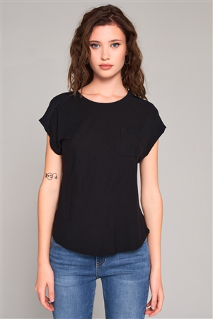 Black Ribbed Shoulder Round Neck Chest Pocket Detail Relaxed Tee /1-2-2-1
