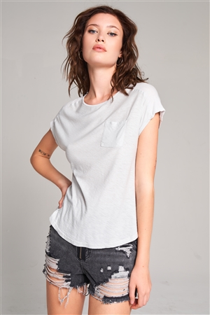 Moonshine Grey Ribbed Shoulder Round Neck Chest Pocket Detail Relaxed Tee