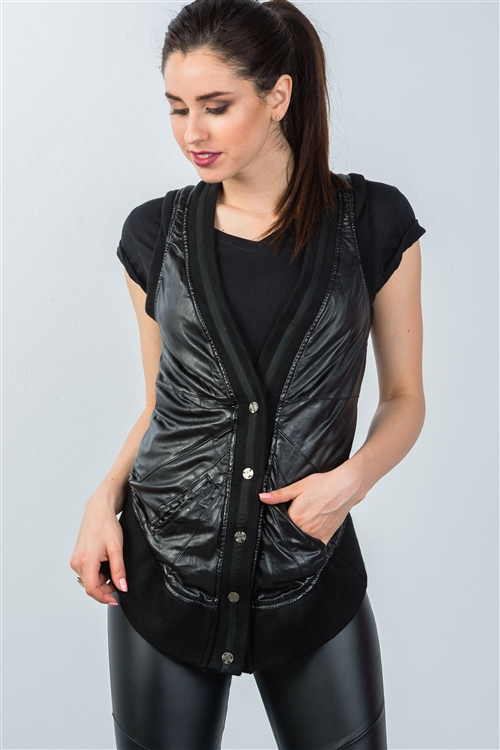 Black High Low Button Down Sleeveless Vest