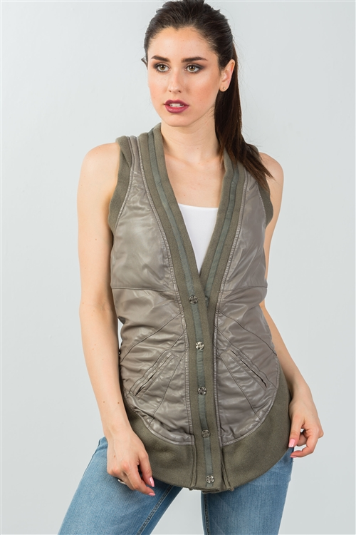 Olive High Low Button Down Sleeveless Vest