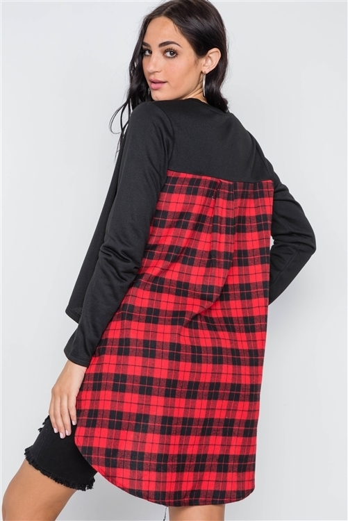 Black Red Combo Plaid High Low Knit Top