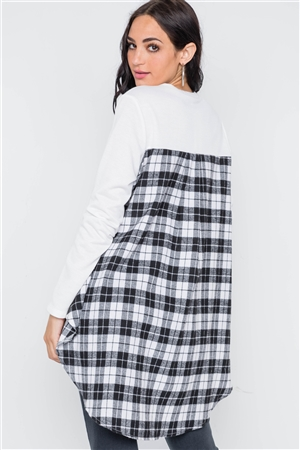 White Combo Plaid High Low Knit Top