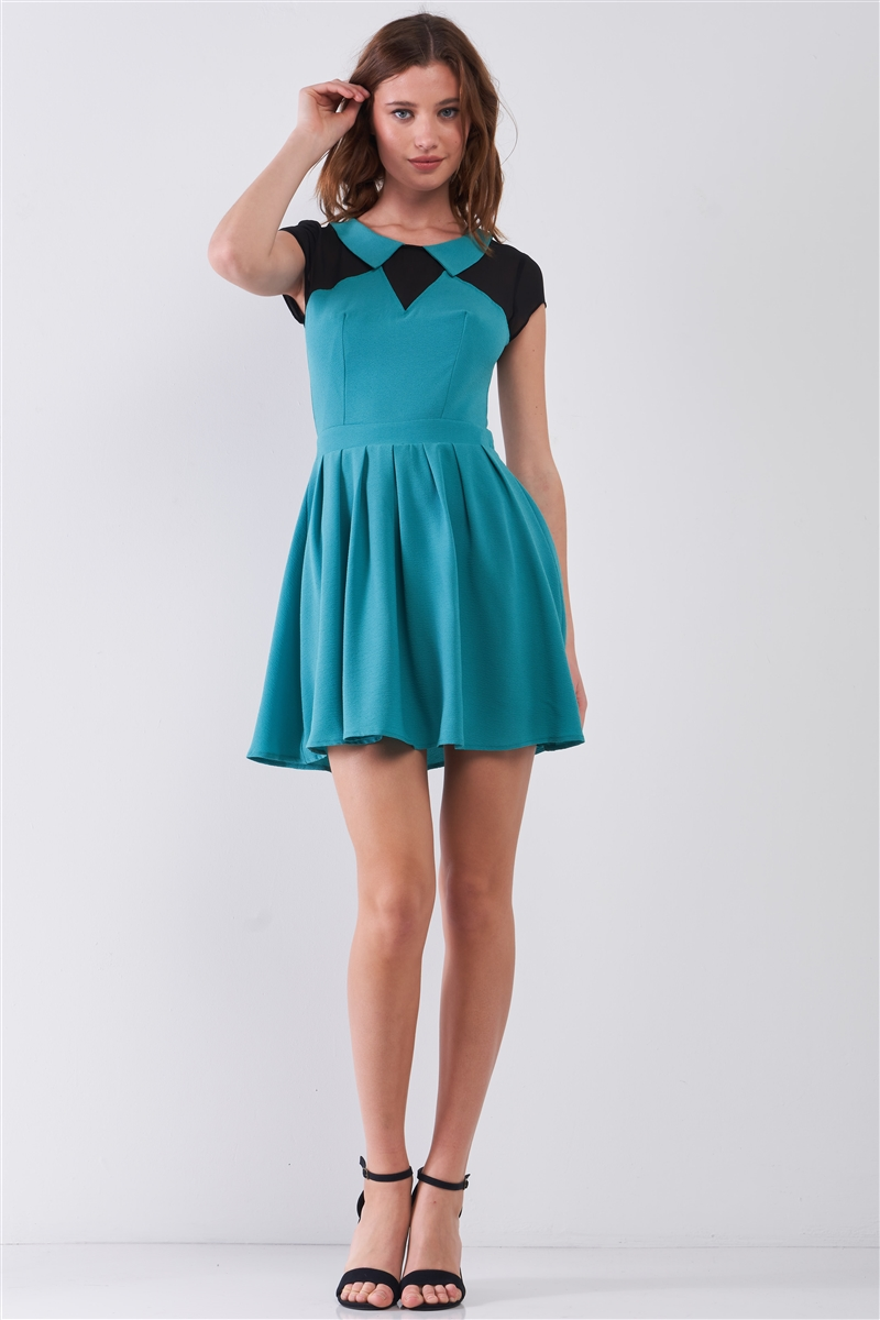 Teal & Black Color Block Sheer Collared Neck Short Sleeve A-Line Mini Dress /1-2-2-1
