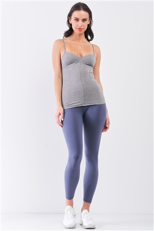 Heather Grey Sleeveless V-Neck Stitching Detail Basic Cami Top /2-1-1-2