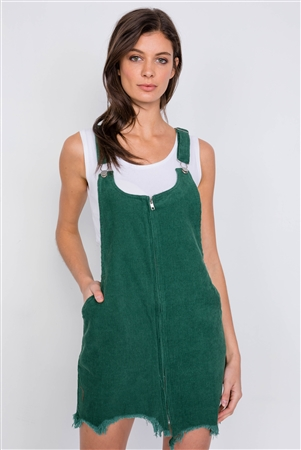 Green Front Zipper Shark Bite Raw Hem Mini Overall Corduroy Dress