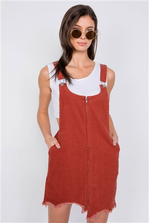 Rust Front Zipper Shark Bite Raw Hem Mini Overall Corduroy Dress