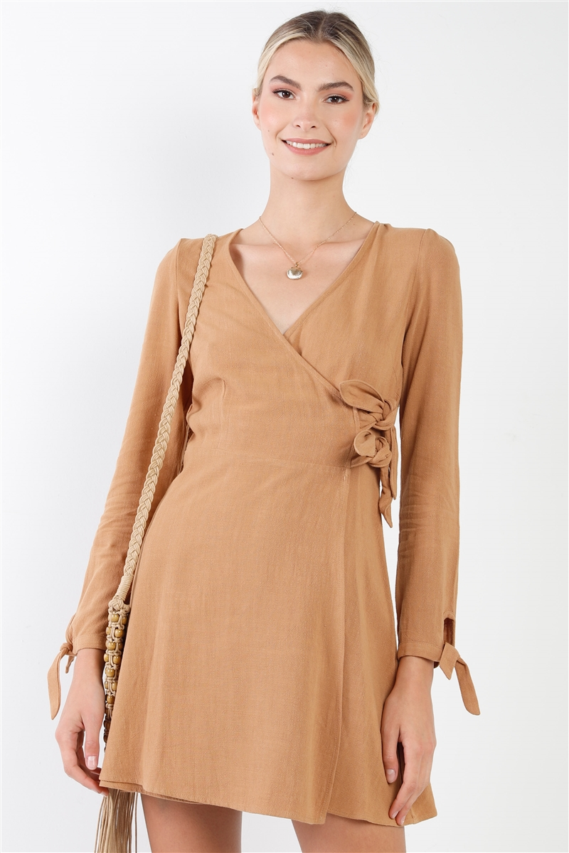 Camel Cotton V-Neck Wrap Boho Chic Mini Dress
