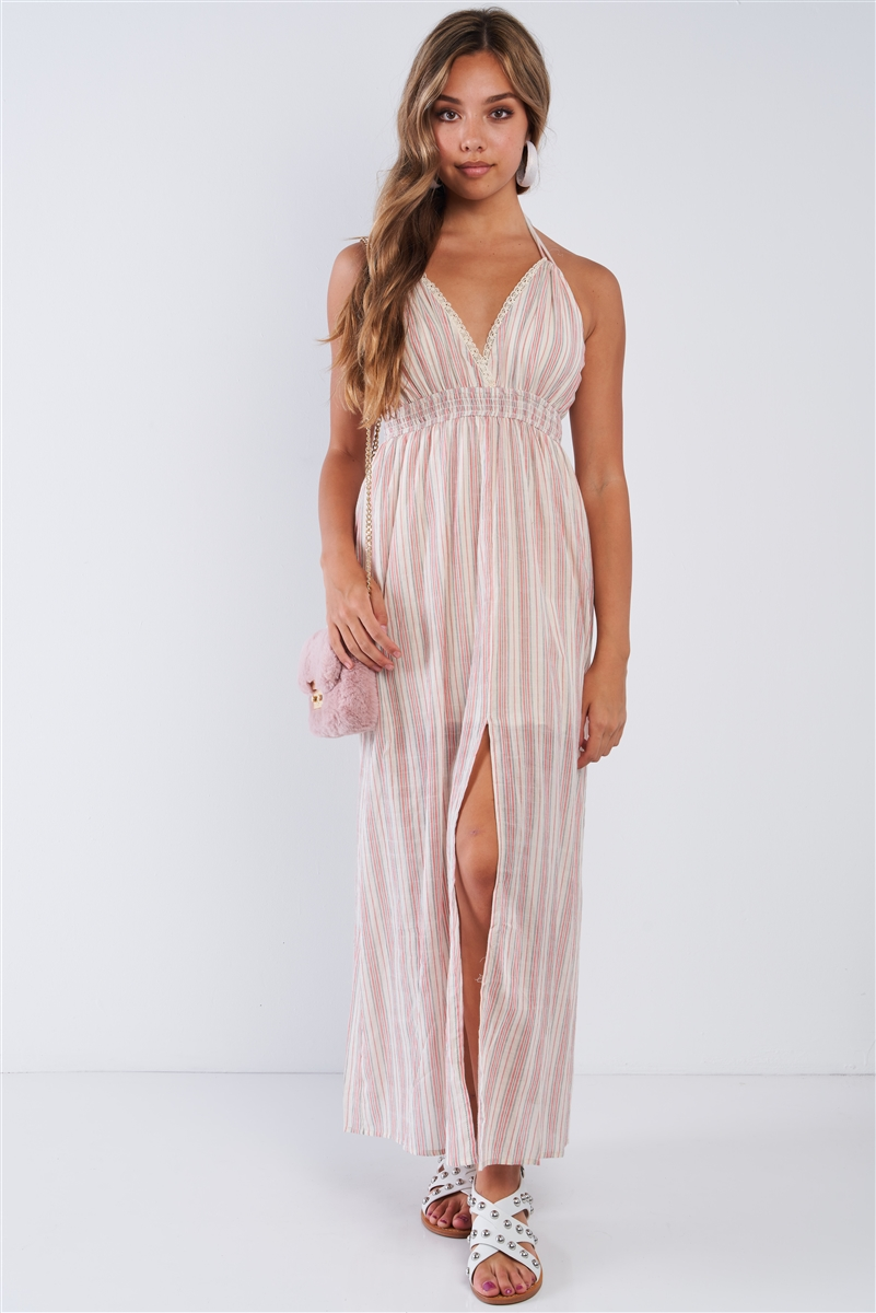 Linen Mauve Striped V-neck Resort Style Halter Leg Split Seam Halter Tie Maxi Dress