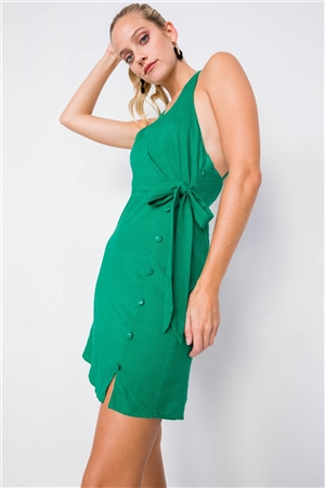 Kelly Green Mock Wrap Halter Neck Open Back Mini Dress