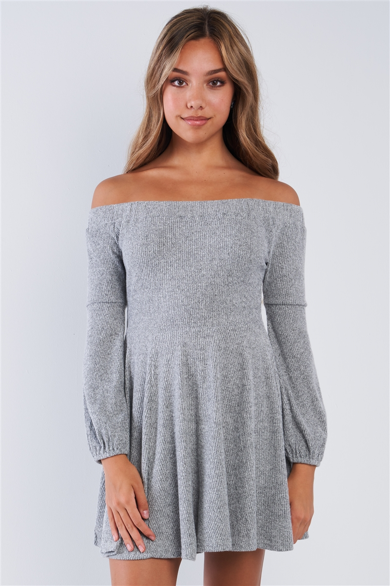 Heather Grey Soft Ribbed Fleece Sweater Dress