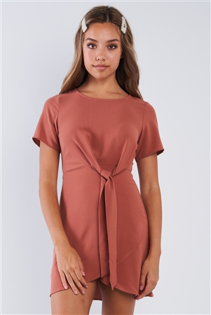 Mauve Short Sleeve Knotted Crew Neck Chic Mini Dress