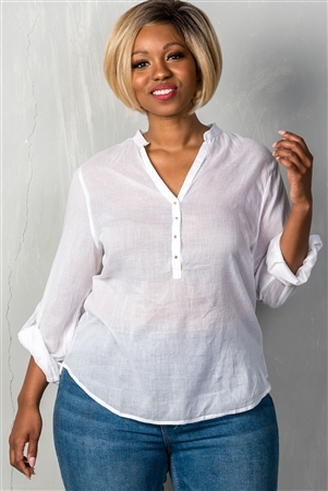 White Roll-Sleeve V Neck With Spikes Detail Plus Size Top