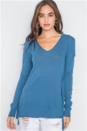 Blue Jean Knit V-Neck Casual Solid Long Sleeve Sweater