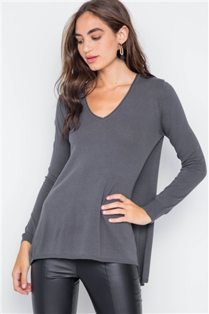 Charcoal Knit V-Neck Casual Solid Long Sleeve Sweater