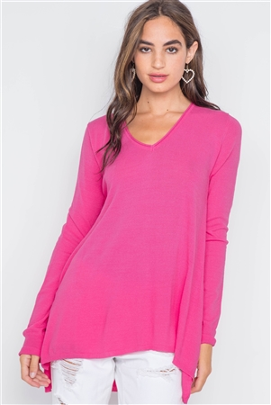 Hot Pink Knit V-Neck Casual Solid Long Sleeve Sweater
