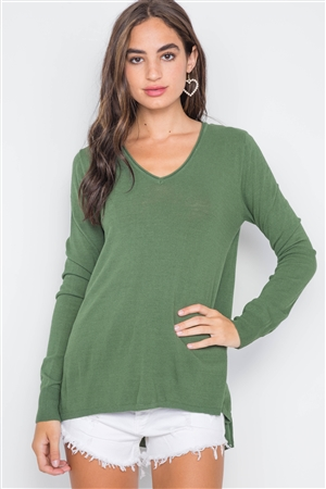 Olive Knit V-Neck Casual Solid Long Sleeve Sweater