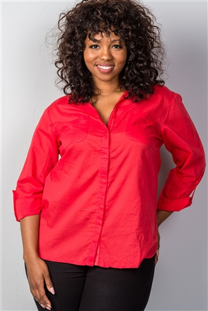 Red Roll-Sleeve Plus Size Top