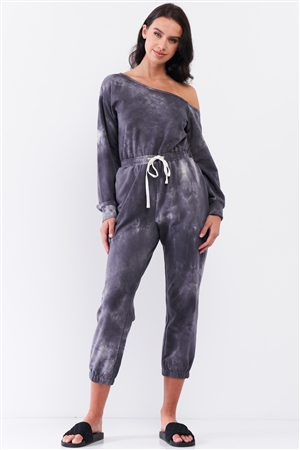 Charcoal Tie-Dye Asymmetrical One-Shoulder Long Sleeve Draw-String Waistline Jogger Jumpsuit /3-2-1