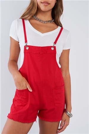 Red Mini Fringe Short Spring D-ring Adjustable Straps Sleeveless Overall Romper