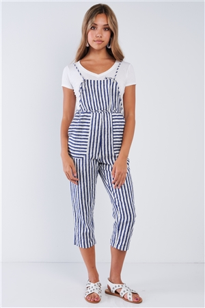 Stripped Linen Ivory & Blue Self-Tie Spaghetti Strap Jumper