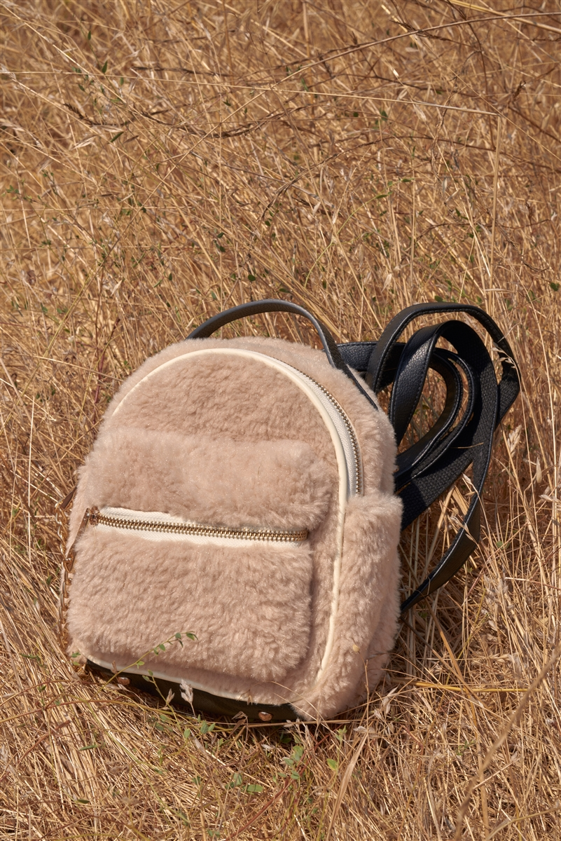 Ivory Faux Shearling Mini Teddy Bear Backpack With Chain Detail