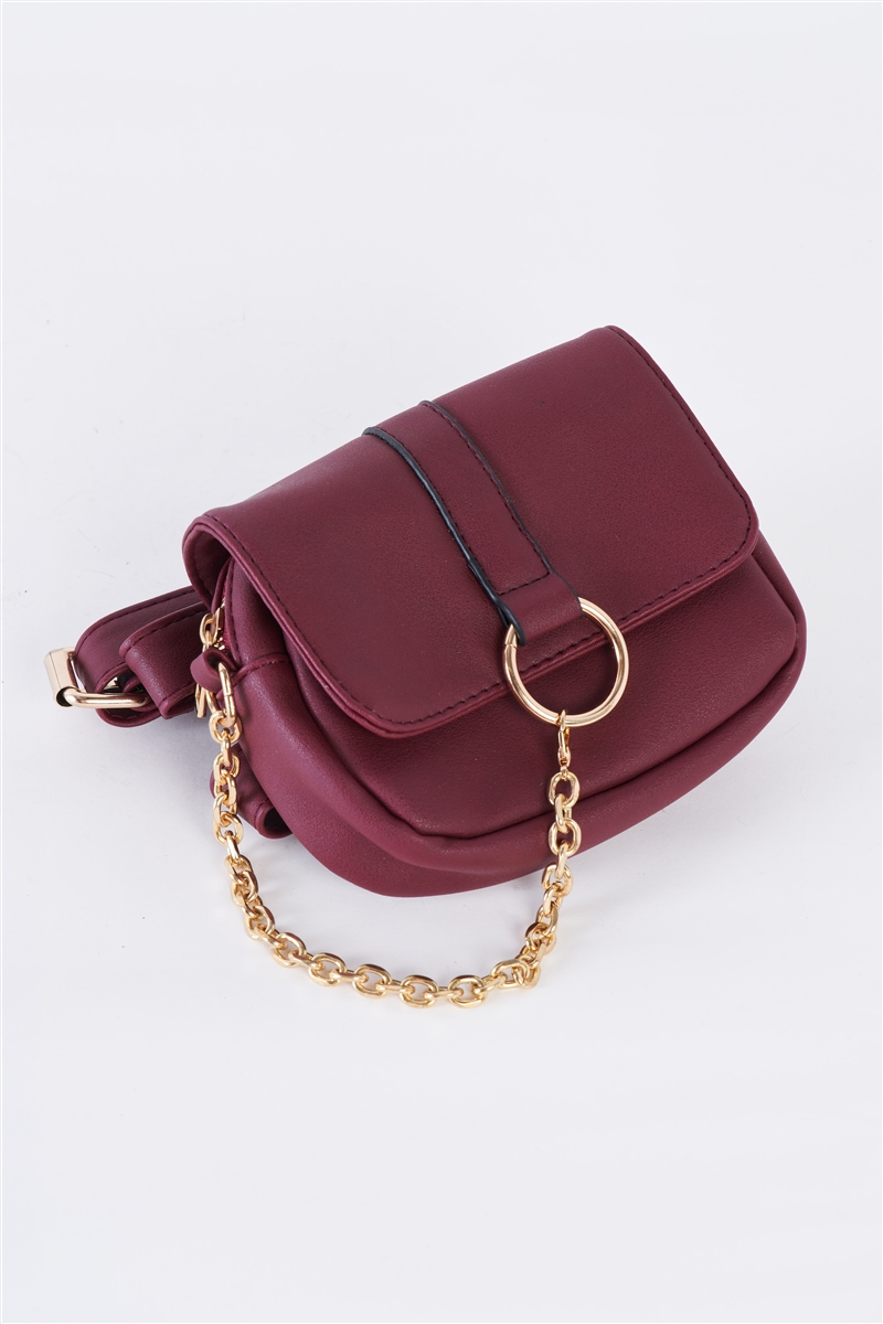Burgundy Faux Leather Mini Square Belt Bag /1 Bag