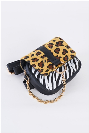 Leopard Faux Leather Mini Square Belt Bag