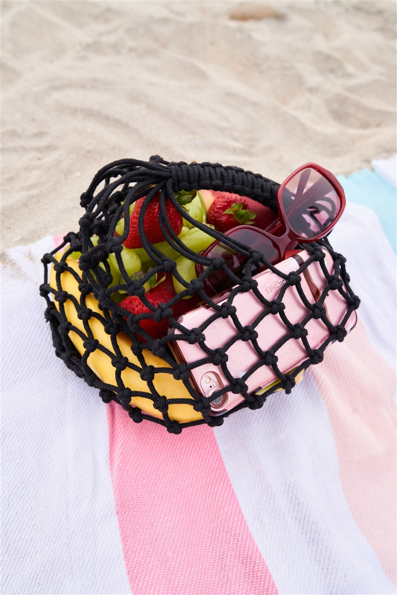 Black Net Beach Handbag /3 Bags