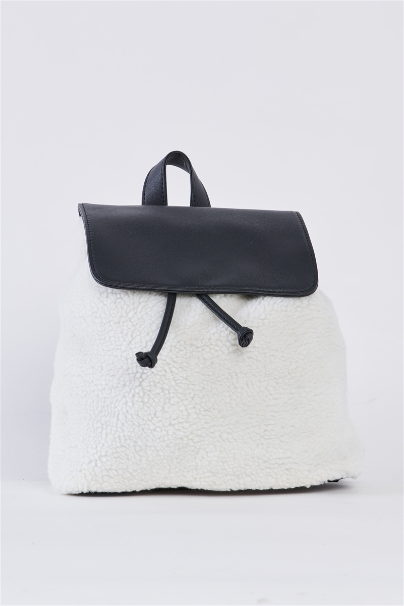 Black & White Flap Faux Fur Vegan Leather Draw String Tie Backpack /3 Pieces