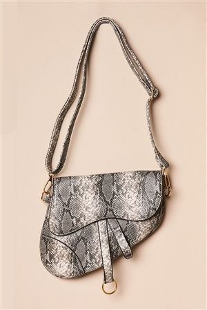 Monochromatic Snake Print Retro Crossbody Handbag
