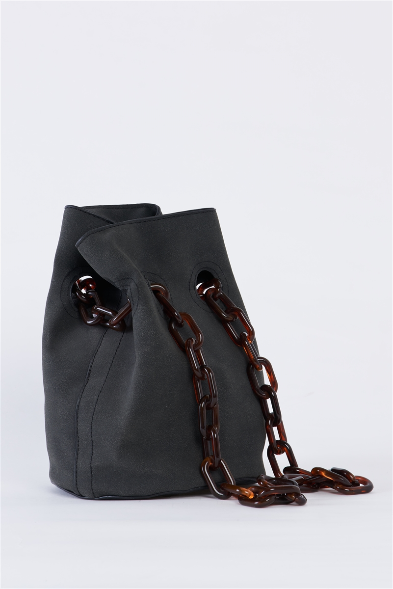Black Suede Chain Handle Detail Fashion Bucket Bag /3 bags