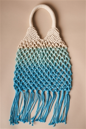 Blue Cotton Net Fringe Fashion Bag