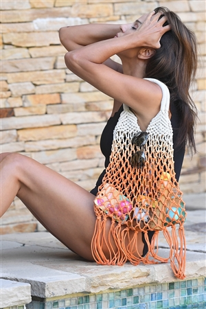 Orange Cotton Net Fringe Fashion Bag