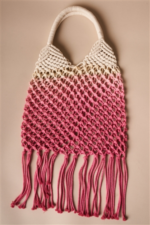 Pink Cotton Net Fringe Fashion Bag