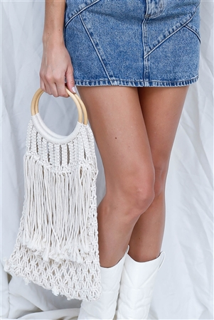 Ivory Net Front Cable Fringe Wooden Handle Bag