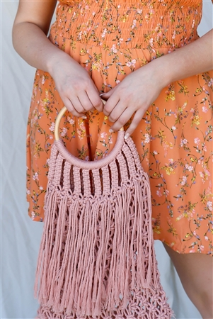 Pink Net Front Cable Fringe Wooden Handle Bag /3 Bags